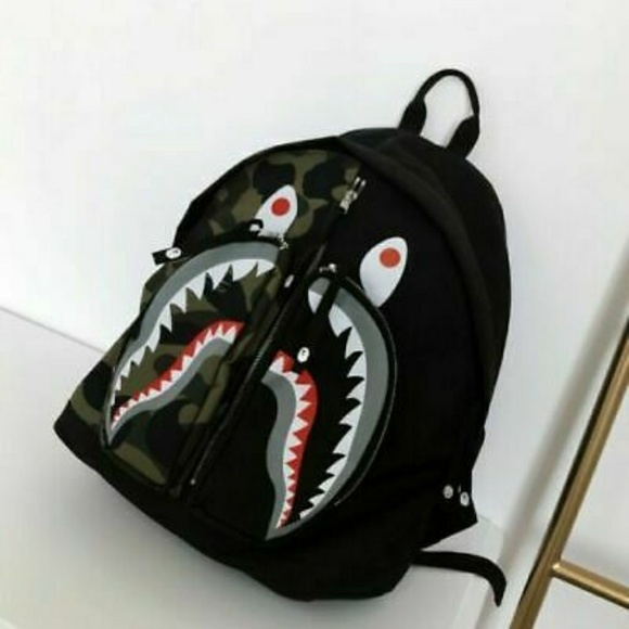 Bape Shark Backpack >> A Bathing Ape 1st Green Camo Shark Head Backpack Nwt
